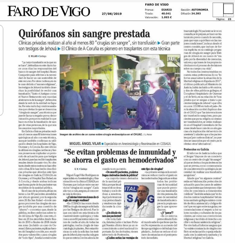 Reportaje sobre Cosaga en Faro de Vigo