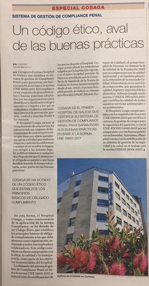 Artículo de La Región Hospital Cosaga