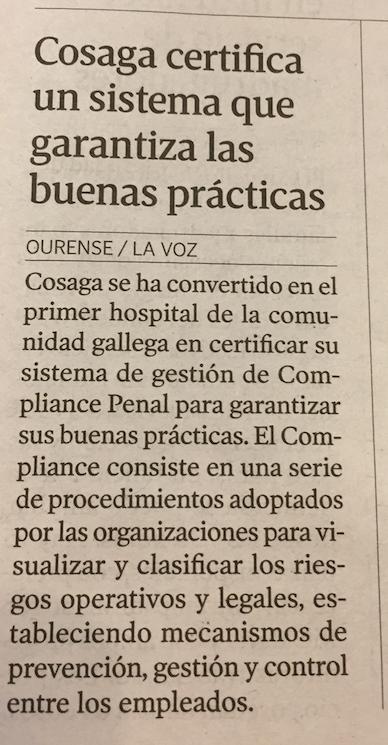 Noticia La Voz de Galicia Hospital Cosaga