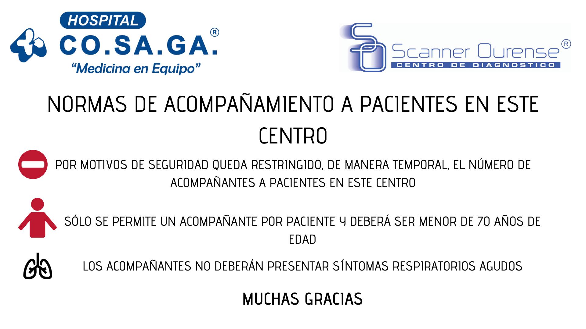 Normas de acompañamiento a pacientes en el Hospital Cosaga durante la crisis sanitaria por Covid-19