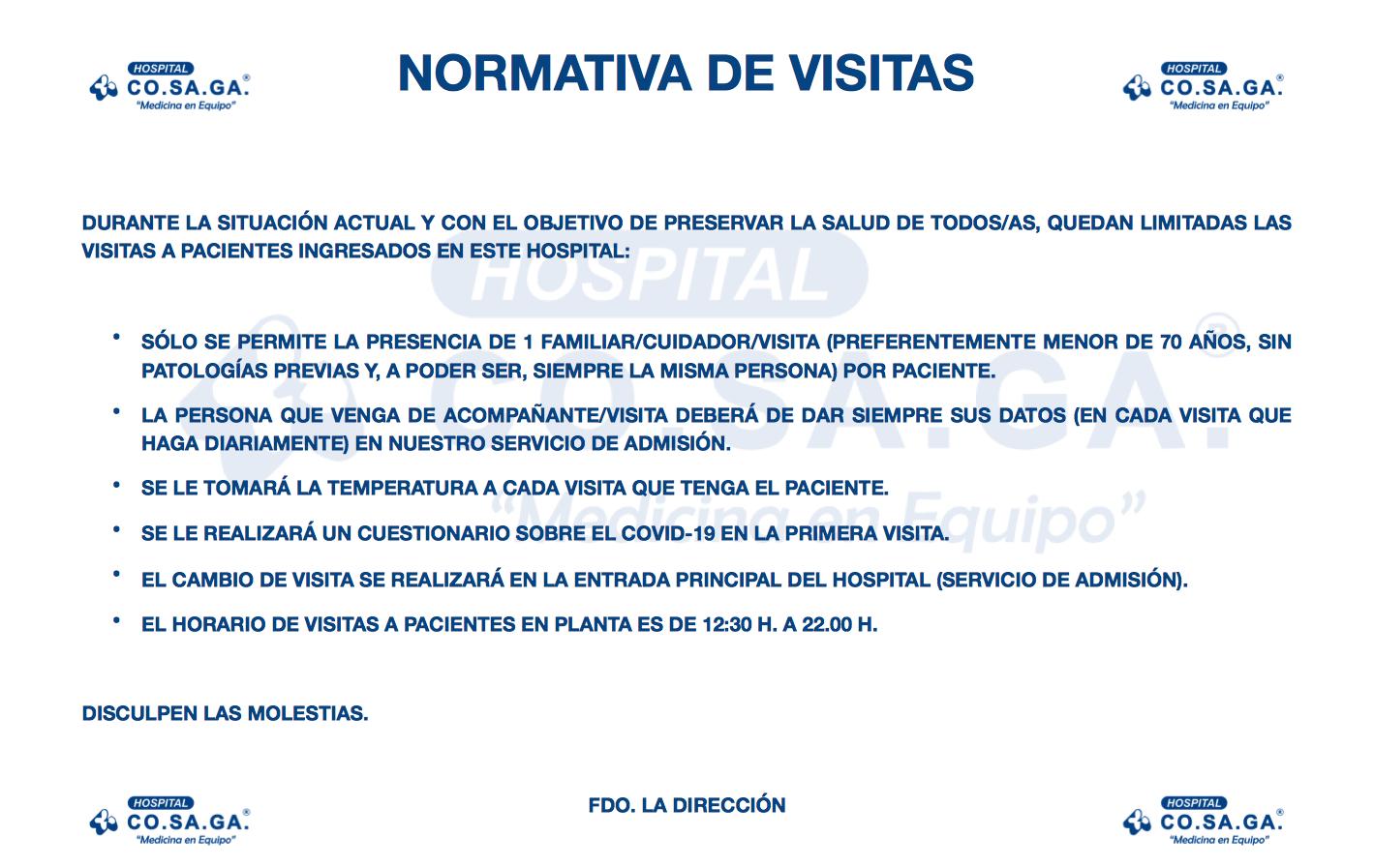 Nueva normativa de visitas del Hospital Cosaga